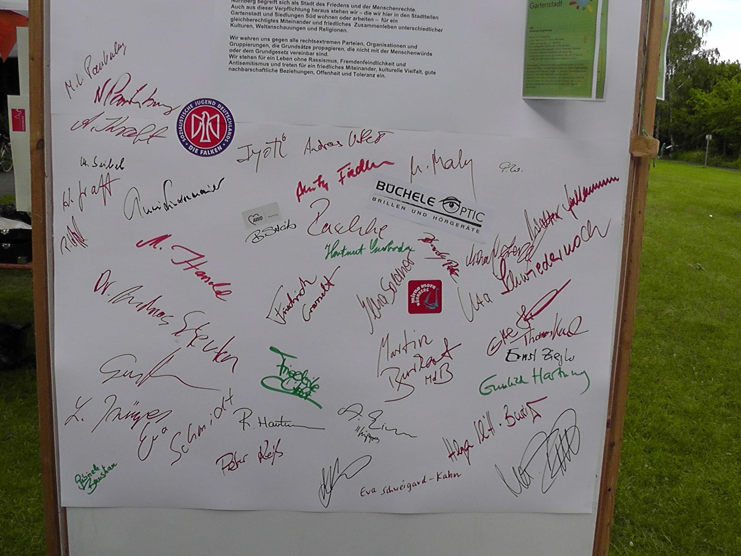 Stadtteilfest 2013 Bunter Tisch Unterschriften